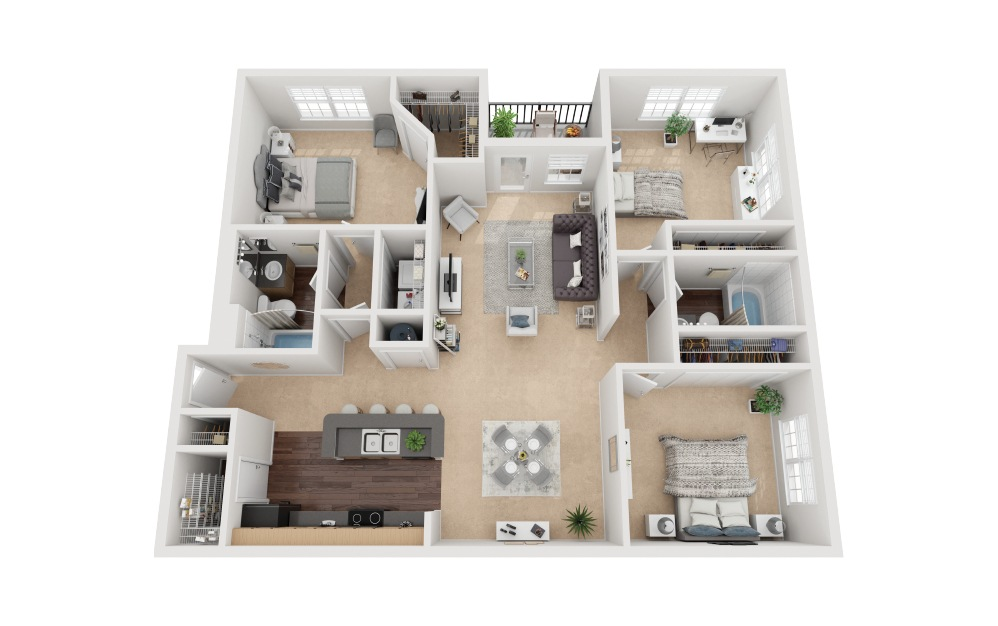 Salines Deluxe - 3 bedroom floorplan layout with 2 baths and 1226 square feet.