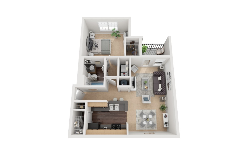Cannes Classic - 1 bedroom floorplan layout with 1 bath and 711 square feet.