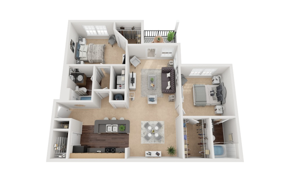 Monte Carlo - 2 bedroom floorplan layout with 2 baths and 1039 square feet.